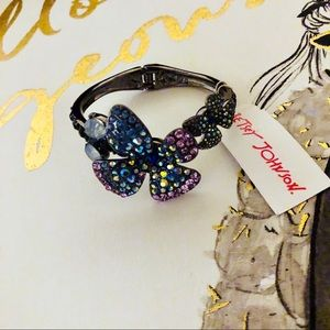 Betsey Johnson Crystal Butterfly Hinged Bracelet.